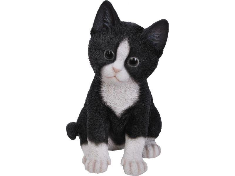 Statue de jardin chaton en résine 20 cm kitten noir et blanc