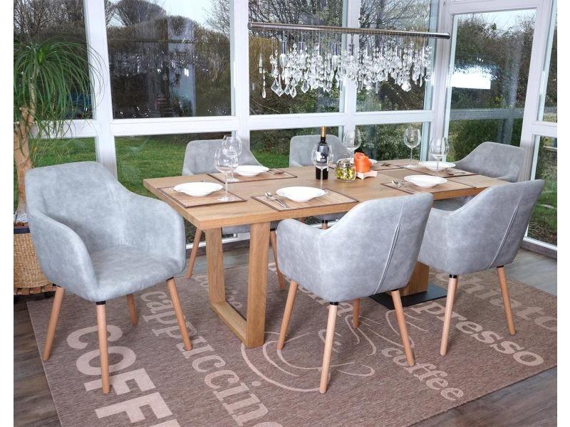 6x chaise de séjour / salle à manger malmö t381, style rétro des années 50 ~ tissu, vintage gris béton