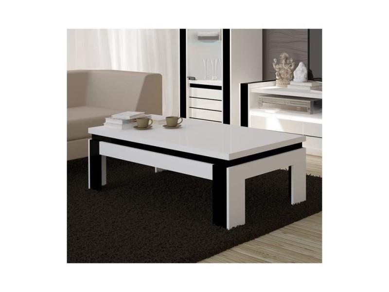 Table basse design lina blanche et noire brillante. Meuble idéal pour votre salon.