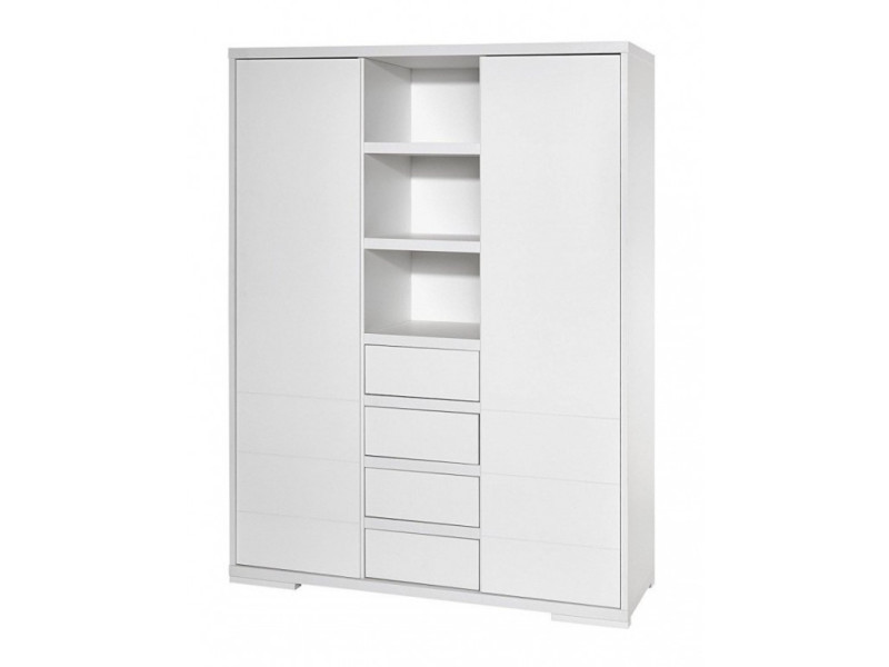Armoire bébé 2 portes 4 tiroirs bois laqué blanc maxx white l 139 x h 191 x p 53 cm 06 863 52 02
