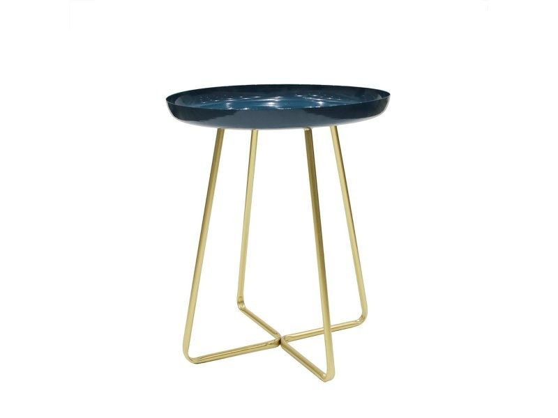 Table d'appoint plateau rond glossy bleu