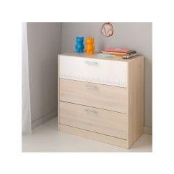 Commode 3 tiroirs acacia clair/blanc - price - l 78 x l 40 x h 83 - neuf