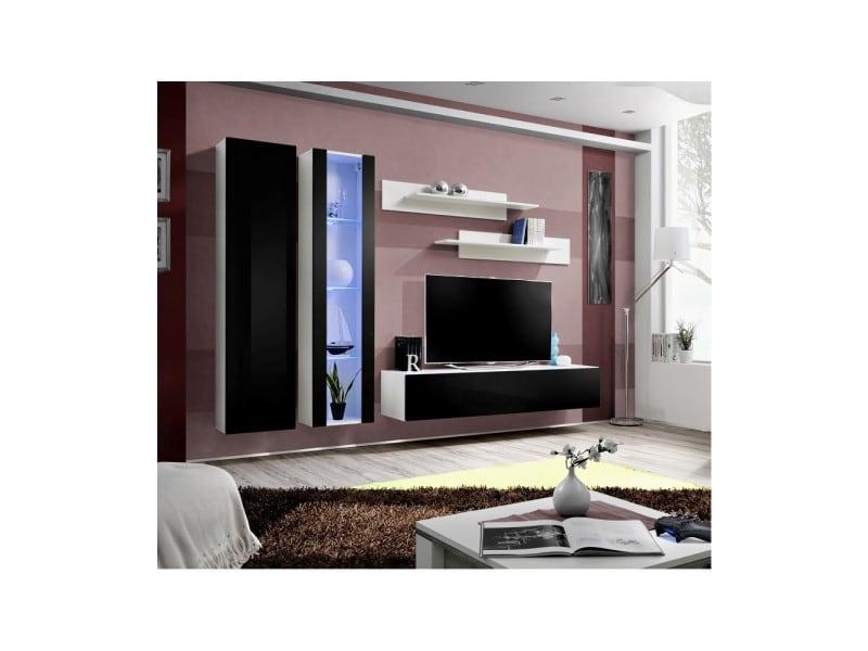Ensemble meuble tv mural - fly i - 260 cm x 190 cm x 40 cm - blanc et noir