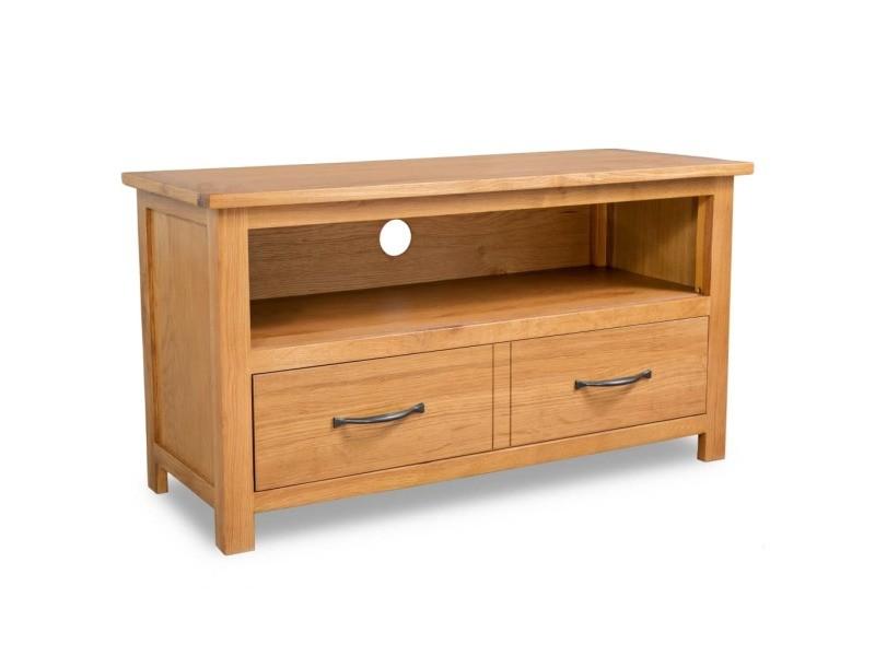 Vidaxl meuble tv 90x35x48 cm bois de chêne massif 244466