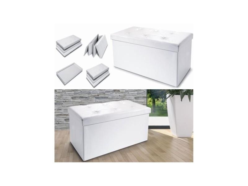 Banc coffre rangement pvc blanc 100x38x38 cm pliable vente de coffre et malle conforama - Petit banc coffre de rangement ...