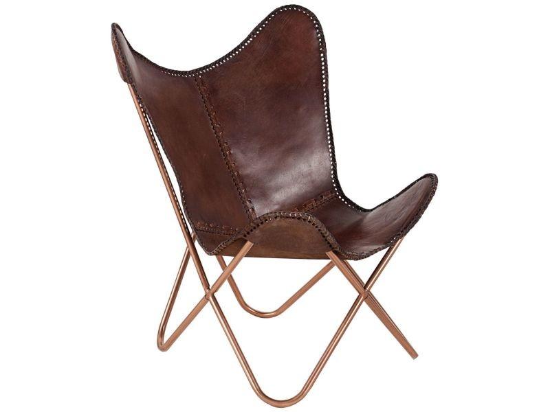 fauteuil papillon design en cuir coloris brun vente de comforium conforama. Black Bedroom Furniture Sets. Home Design Ideas
