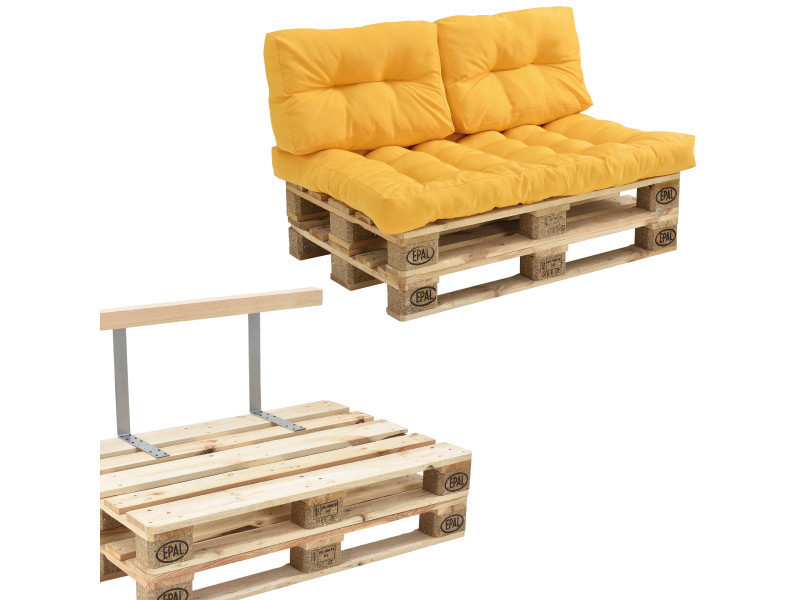 [en.casa] canapé de palette euro- 2-siège avec coussins- [moutard] kit complète incl. Dossier
