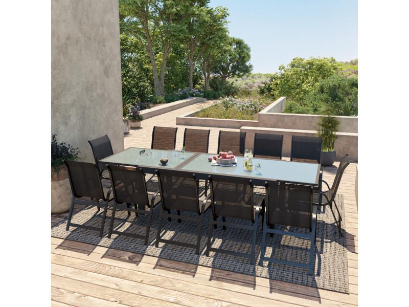 Table de jardin extensible aluminium 200/320cm + 12 fauteuils empilables textilène noir - faro 12