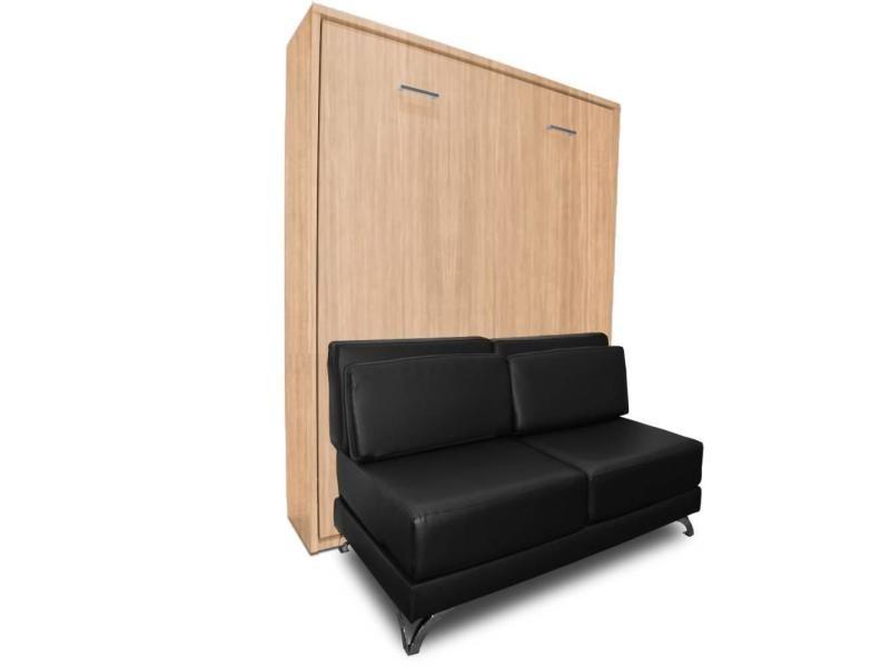 armoire lit escamotable town ch ne canap rev tement polyur thane noir int gr couchage 140. Black Bedroom Furniture Sets. Home Design Ideas
