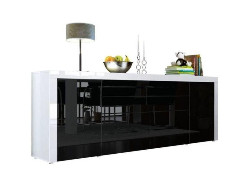 Buffet chocolat / blanc haute brillance 200 cm