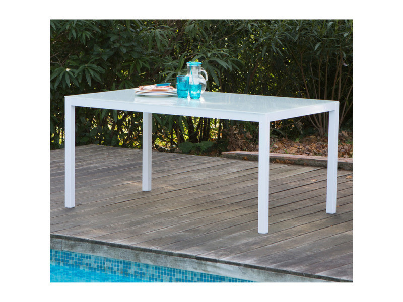 Table de jardin aluminium/verre 150x90x72 cm blanche sunny blanc ...