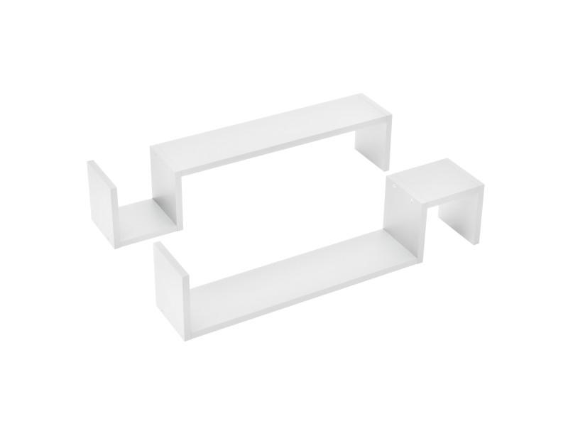 [en.casa] étagère murale en 2 pièces blanc mat design rétro