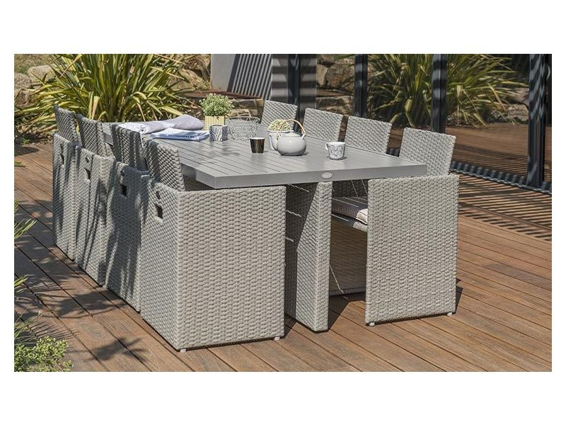 Salon de jardin encastrable gris rio 8 places - Vente de ...