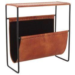 Porte-revues en métal et cuir
