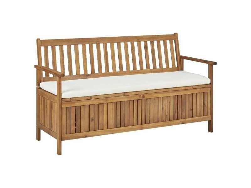 Stylé sièges de jardin gamme buenos aires banc de rangement avec coussin 148 cm bois d'acacia solide