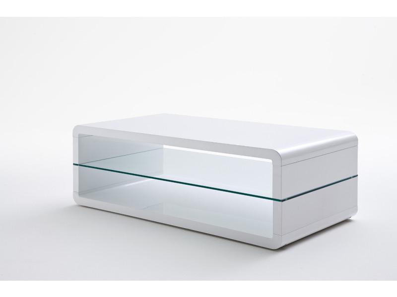 Table basse avec étagere verre laque blanc brillant - l120 x h41 x p60 cm -pegane-