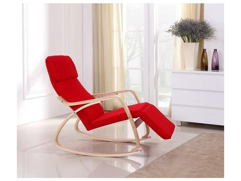 rocking chair chaise bascule fauteuil relaxant rouge vente de paolo collaner conforama. Black Bedroom Furniture Sets. Home Design Ideas