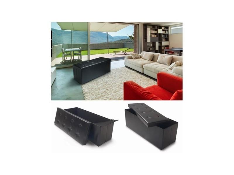 banc coffre rangement pvc noir 76x38x38 cm pliable vente. Black Bedroom Furniture Sets. Home Design Ideas