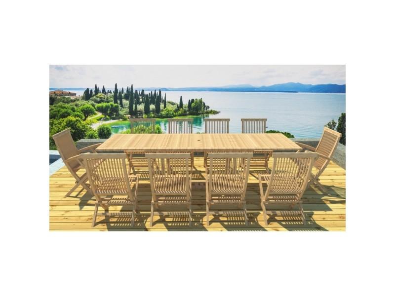 Kajang: salon de jardin teck massif 12 pers - table rectangulaire ...