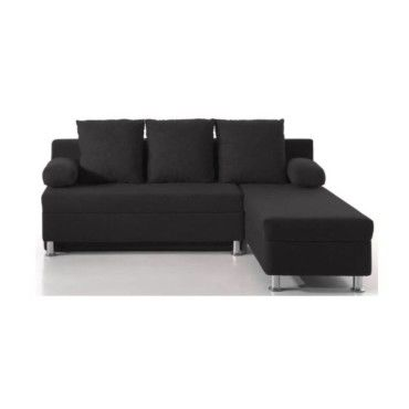 canap d 39 angle convertible rapido zaurak en microfibre noire 20100865678 conforama. Black Bedroom Furniture Sets. Home Design Ideas