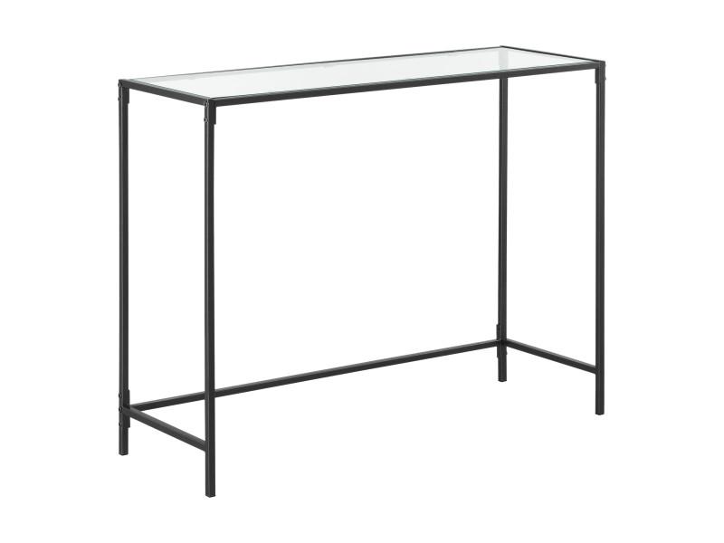 Table console pour salon table d'appoint design plateau en verre pieds en acier 100 x 35 x 80 cm noir [en.casa]
