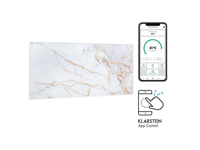 Klarstein wonderwall air art smart radiateur infrarouge connecté , 120 x 60cm , chauffage 700w , pour 14m² , , design marbre i