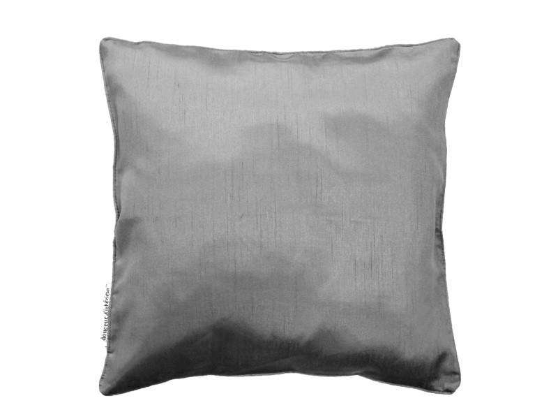 Housse de coussin polyester shantung uni shana gris perle 60 x 60