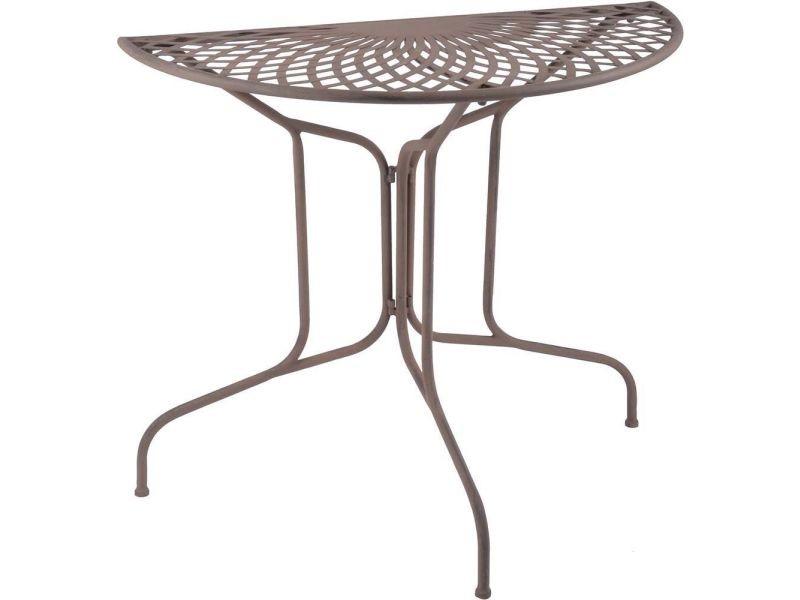Table en métal demi-ronde