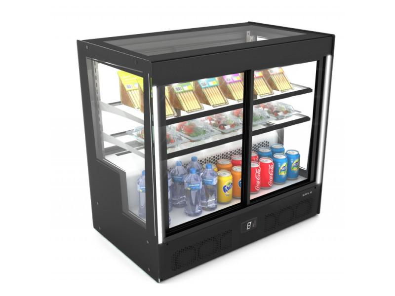 Vitrine réfrigérée droite série compak accès porte avant/arrière - 1015x950 mm - sayl -
