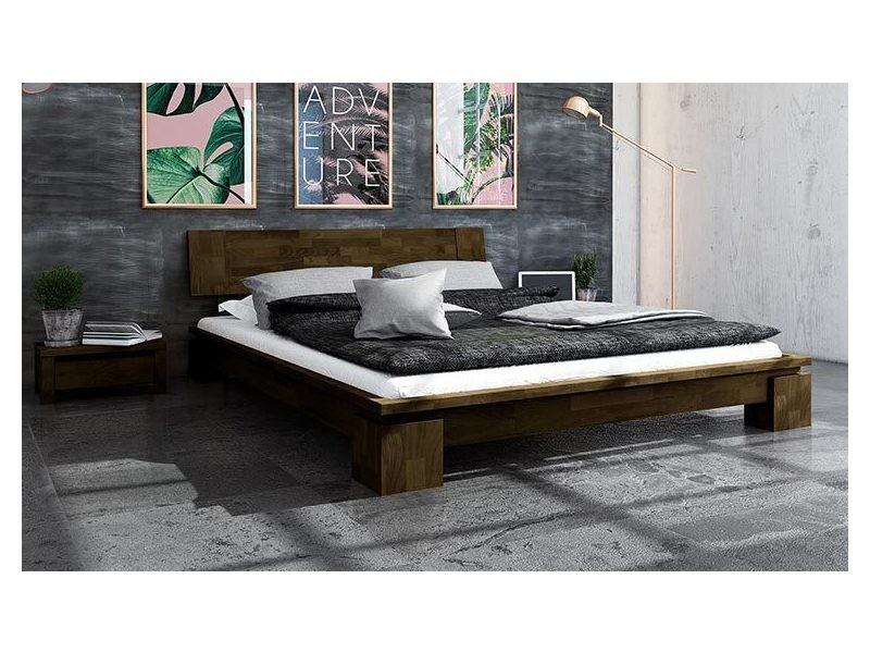 Lit contemporain 160 x 200 en bois massif marron - vinci bas ...