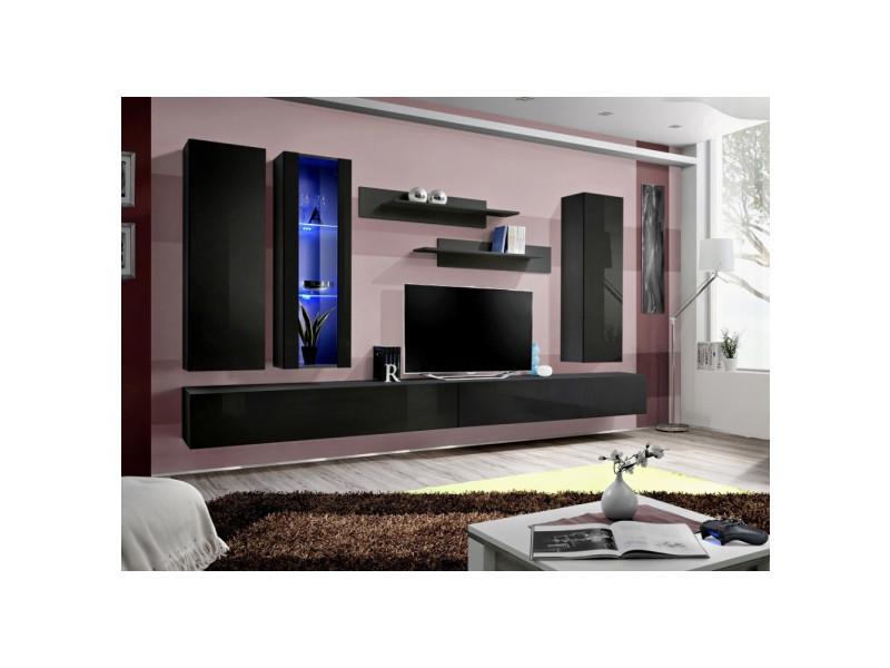 Ensemble meuble tv mural - fly iii - 320 cm x 190 cm x 40 cm - noir