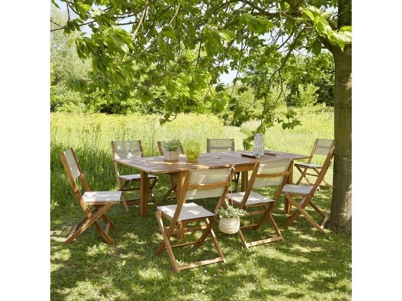 Salon de jardin en bois d\'acacia fsc extensible 8 à 10 places ...
