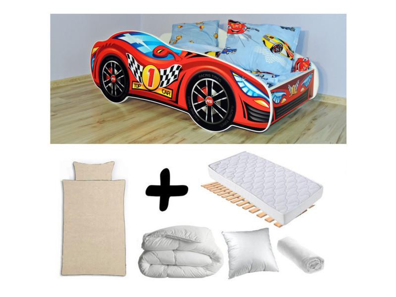 Pack complet lit enfant voiture racing rouge = lit+matelas & parure+couette+oreiller