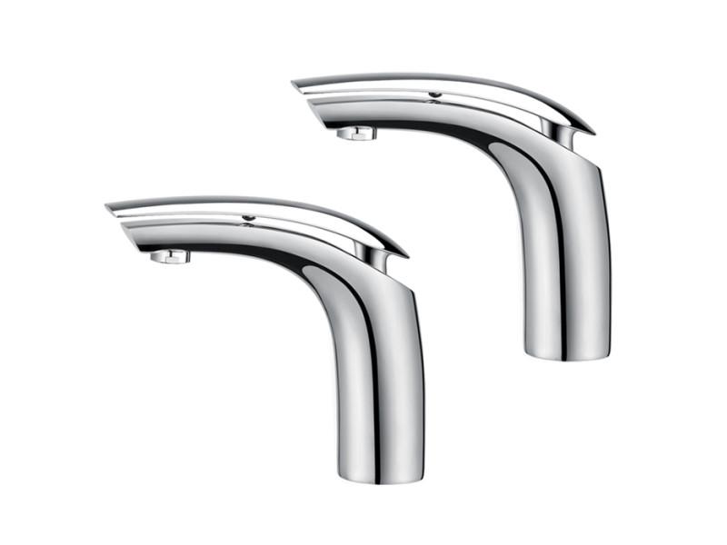 2x mitigeurs de lavabo chromé robinet salle de bain en laiton mousseurs abs monocommande