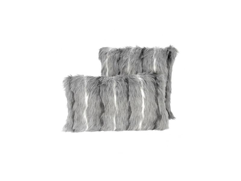 Créations léonie's france - set 2 coussins fourrure gris blanc 45x45 et 30x50cm AFGCOU