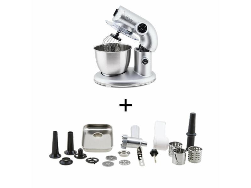 H.koenig km80 s silver + ac8 : robot petrin 1000w+ accessoires optionnels