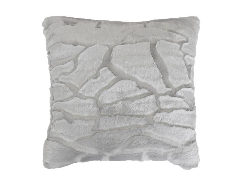 Coussin a poil doux 40 x 40 cm imitation fourrure ecaille gris