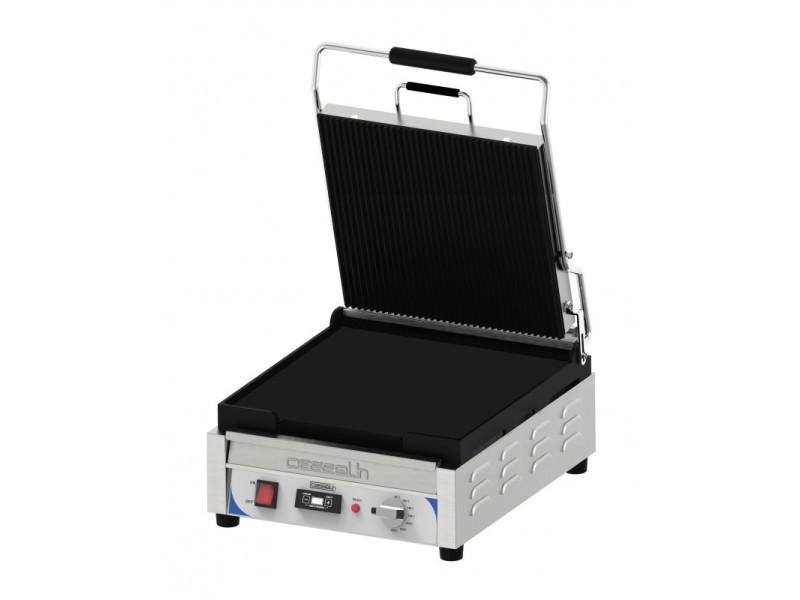 Grill panini xl premium rainurée / lisse avec minuteur - casselin - inox