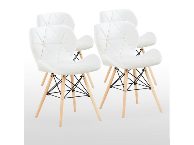 Lot de 4 chaises design en simili cuir blanches - cecilia eiffel