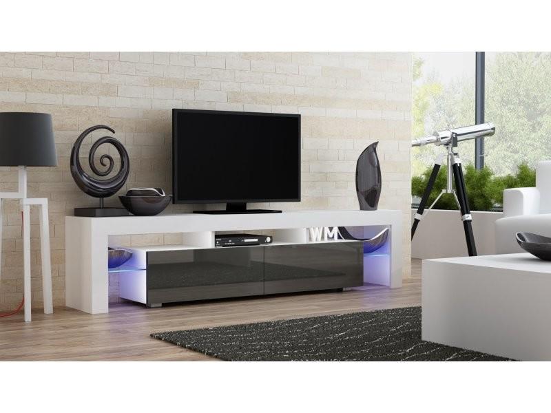 Meuble tv spider big à led en blanc mat avec portes gris laqué 200 cm