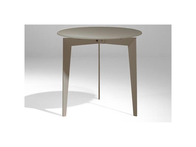 Table basse ronde dallas en verre dépoli taupe 20100847162