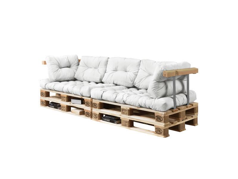 en.casa] canapé de palettes - 3-siège avec coussins - (blanc) kit ...