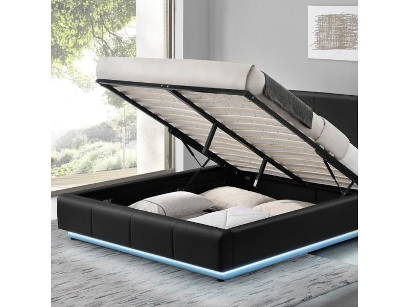 Lit design alexi avec sommier et coffre de rangement - noir - 180x200 - Vente de Lit adulte ...