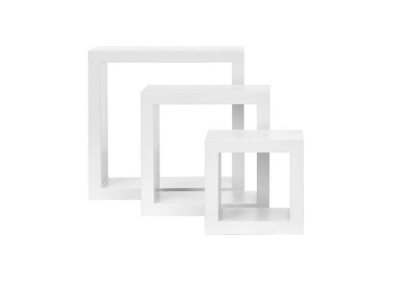 [en.casa]® étagère murale en 3 pièces blanc mat laqué mdf