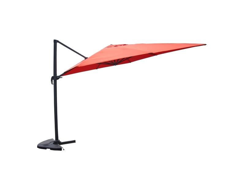 Palatino terracotta : parasol déporté, carré de 3x3m , rotatif à 360°