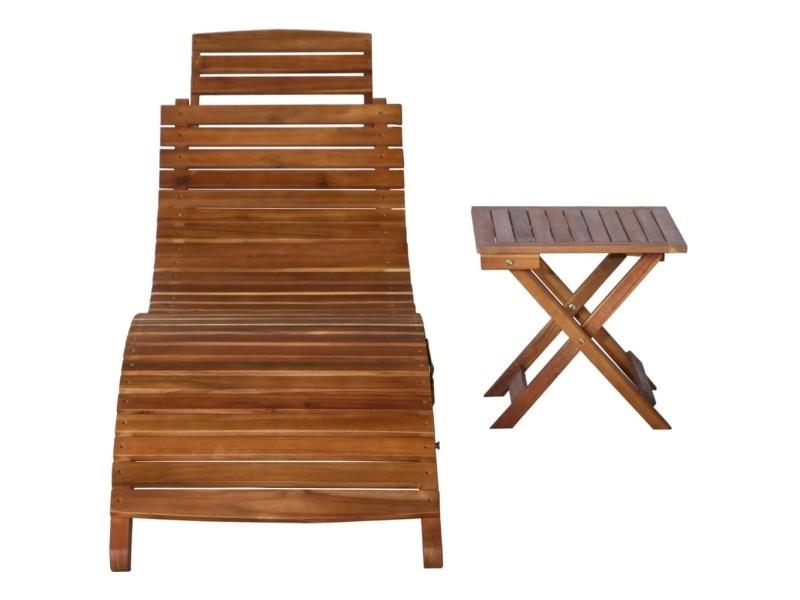 Vidaxl chaise longue avec table bois d'acacia massif marron 46653