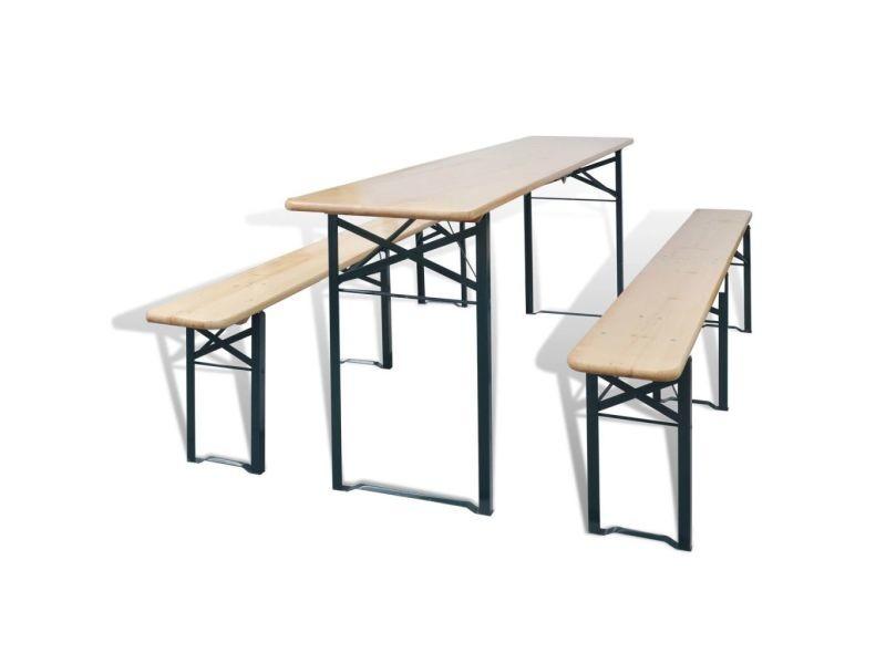 Stylé meubles de jardin ligne bucarest table avec 2 bancs 220 cm bois de sapin