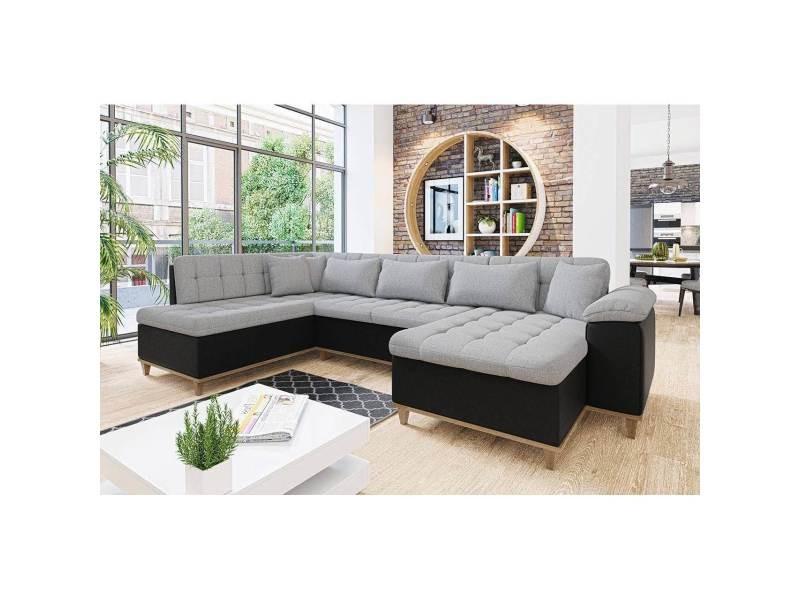 Mina - canapé d'angle convertible en tissu gris et noir - angle droit