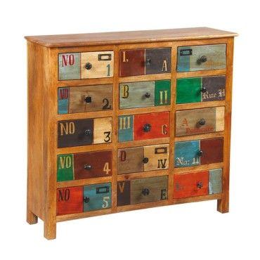 Commode 15 tiroirs en bois de palissandre denver l 100 x l 31 x h 91 neuf vente de - Commode apothicaire conforama ...