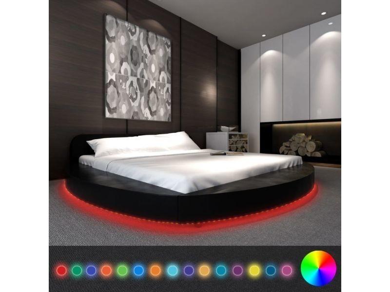 Vidaxl lit avec matelas led 180 x 200 cm rond cuir artificiel noir 274644 -  Vente de VIDAXL - Conforama c252b14ae12c
